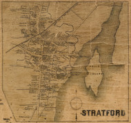 Stratford Village, Connecticut 1858 Fairfield Co. - Old Map Custom Print