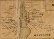 Westport Village, Connecticut 1858 Fairfield Co. - Old Map Custom Print