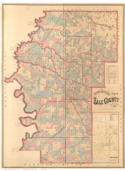 Hale County Alabama 1870 - Old Map Reprint