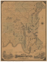 Madison County Alabama 1875 - Old Map Reprint