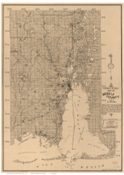 Mobile County Alabama 1895 - Old Map Reprint