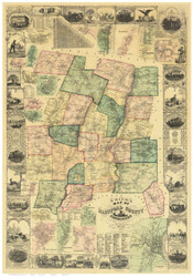 Hartford County Connecticut 1855 - Old Map Reprint
