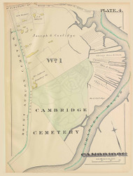 Cambridge Ward 1 Plate 4, 1886 - Old Street Map Reprint -Cambridge 1886 Atlas