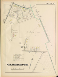 Cambridge Ward 1 Plate 11, 1886 - Old Street Map Reprint -Cambridge 1886 Atlas