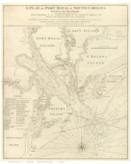 Port Royal  1773 Gascoigne - Old Map Reprint - South Carolina Cities