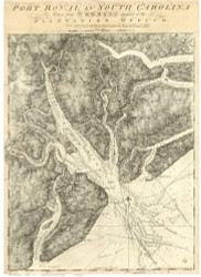 Port Royal  1777 Des Barres - Old Map Reprint - South Carolina Cities