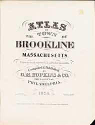 Title Page, 1874 - Old Street Map Reprint -  -Brookline 1874 Atlas