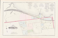 Brookline Plate A Brighton Avenue, 1874 - Old Street Map Reprint - Railroad Junctions, Knyvet Square -Brookline 1874 Atlas