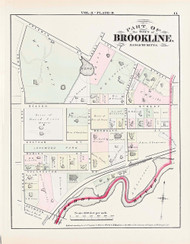 Brookline Plate B Beacon Street, 1874 - Old Street Map Reprint - Muddy River, Longwood Park -Brookline 1874 Atlas