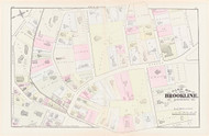 Brookline Plate E Harvard Street, 1874 - Old Street Map Reprint - Auburn Street, Harvard Street Congregational Church -Brookline 1874 Atlas
