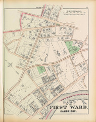 Cambridge Ward  1 Plate C, 1873 - Old Street Map Reprint -Cambridge 1873 Atlas