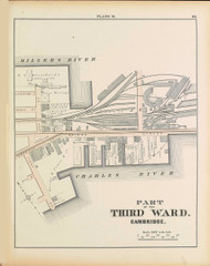 Cambridge Ward 3 Plate R, 1873 - Old Street Map Reprint -Cambridge 1873 Atlas