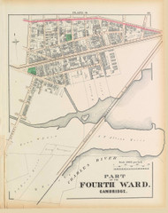 Cambridge Ward 4 Plate O, 1873 - Old Street Map Reprint -Cambridge 1873 Atlas