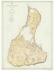 Block Island 3:4 1914 - Rhode Island Harbors Custom Chart