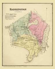 Barrington, Rhode Island 1870 - Old Town Map Reprint