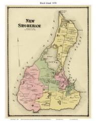 Block Island - Custom, Rhode Island 1870 - Old Town Map Reprint