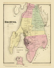 Bristol, Rhode Island 1870 - Old Town Map Reprint