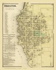 Bristol Village, Rhode Island 1870 - Old Town Map Reprint