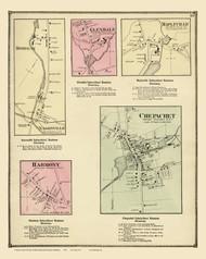 Burrillville Chepachet Mapleville Glendale, Rhode Island 1870 - Old Town Map Reprint