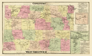 Coventry and West Greenwich, Rhode Island 1870 - Old Town Map Reprint