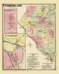 Cumberland, Rhode Island 1870 - Old Town Map Reprint