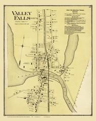 Cumberland Valley Falls, Rhode Island 1870 - Old Town Map Reprint
