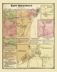East Greenwich Quidnick Anthony, Rhode Island 1870 - Old Town Map Reprint
