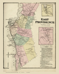 East Providence, Rhode Island 1870 - Old Town Map Reprint