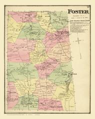 Foster, Rhode Island 1870 - Old Town Map Reprint