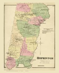 Hopkinton, Rhode Island 1870 - Old Town Map Reprint