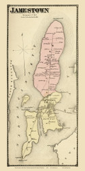 Jamestown - Custom, Rhode Island 1870 - Old Town Map Reprint