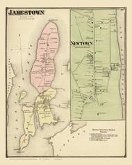 Jamestown, Rhode Island 1870 - Old Town Map Reprint