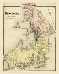 Newport, Rhode Island 1870 - Old Town Map Reprint