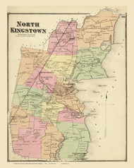North Kingstown, Rhode Island 1870 - Old Town Map Reprint