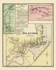 North Kingstown, Wickford & Bellville, Rhode Island 1870 - Old Town Map Reprint