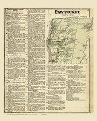 Pawtucket and Business Directory, Rhode Island 1870 - Old Town Map Reprint