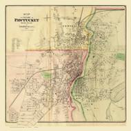 Pawtucket City, Rhode Island 1870 - Old Town Map Reprint