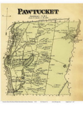 Pawtucket, Rhode Island 1870 - Old Town Map Reprint