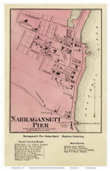 South Kingstown Narragansett - Custom 11x17, Rhode Island 1870 - Old Town Map Reprint