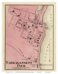 South Kingstown Narragansett - Custom 11x14, Rhode Island 1870 - Old Town Map Reprint