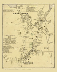 South Kingstown, Wakefield, Rocky Brook & Peacedale, Rhode Island 1870 - Old Town Map Reprint