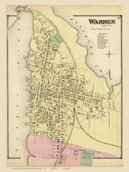 Warren Village, Rhode Island 1870 - Old Town Map Reprint