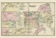 Warwick Rockland Richmond Pontiac, Rhode Island 1870 - Old Town Map Reprint