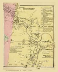Warwick, Harris, Lippitt, Birch Hill & River Point, Rhode Island 1870 - Old Town Map Reprint
