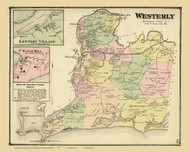 Westerly, Rhode Island 1870 - Old Town Map Reprint