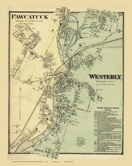 Westerly Village, Rhode Island 1870 - Old Town Map Reprint