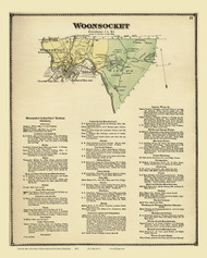 Woonsocket and Business Directory, Rhode Island 1870 - Old Town Map Reprint