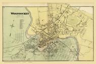 Woonsocket Village, Rhode Island 1870 - Old Town Map Reprint