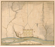 Savannah 1782  - Old Map Reprint - Georgia Cities