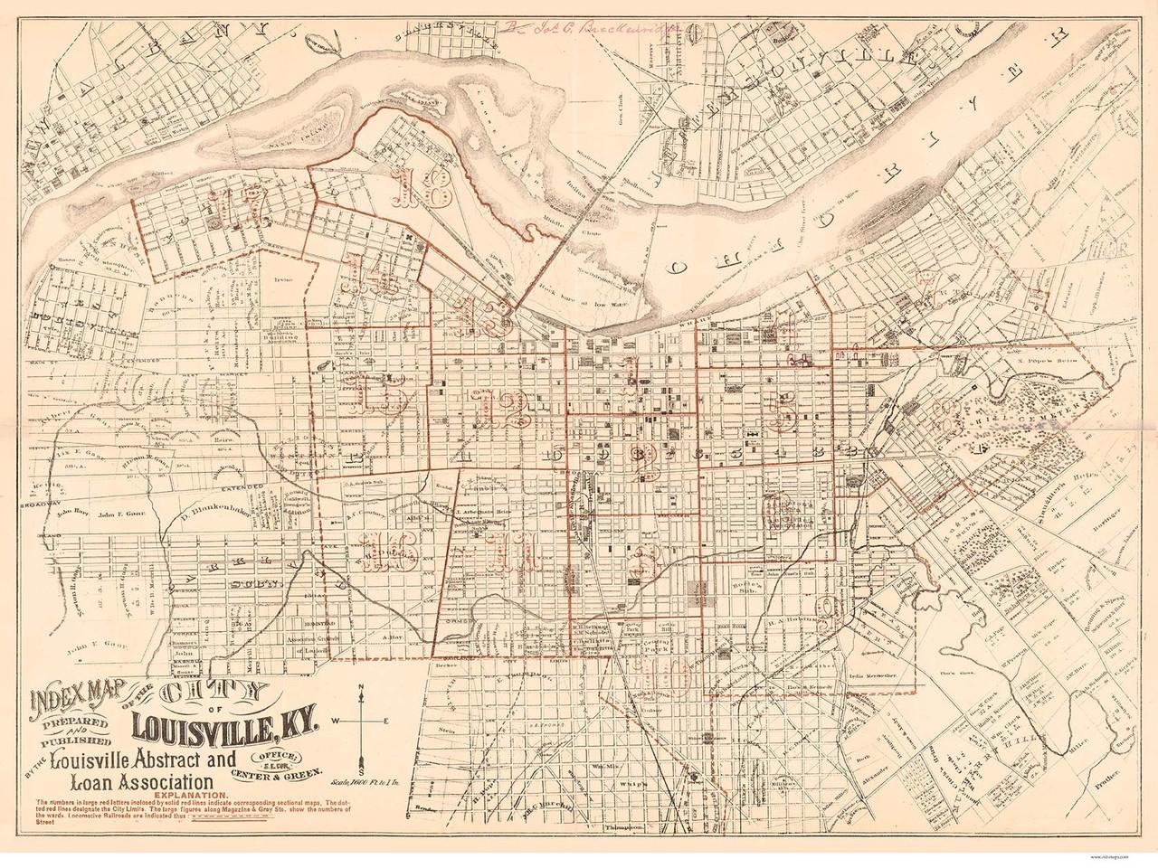 Louisville ca 1879 Louisville Abstract and Loan Association - Old Map  Reprint - Kentucky Cities